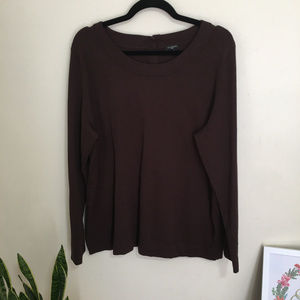 TALBOTS scoop neck button back sweater brown